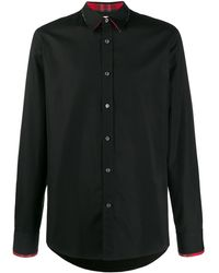 Alexander McQueen Рубашка Со Вставками В Клетку Тартан - Черный