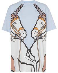 Burberry Unicorn Print Cotton Oversized T-shirt - Blue