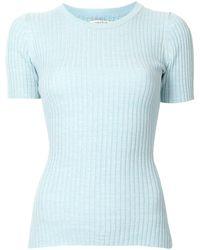 Anna Quan Rib-knit Cotton T-shirt - Blue