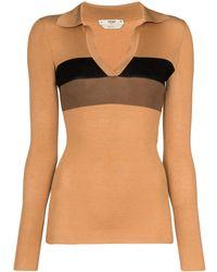 Fendi Striped Ribbed Polo Shirt - Brown