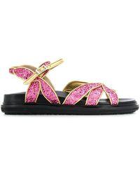 Marni Sandalen im Glitter-Look - Pink