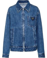 Prada Zip-up Denim Jacket - Blue