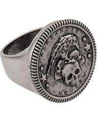 Alexander McQueen Skull Embossed Ring - Metallic