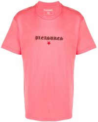 Pleasures エンブロイダリー Tシャツ - ピンク