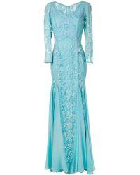 Martha Medeiros Vivian Lace Gown - Blue