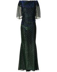 Talbot Runhof ギャザーチュール ドレス - グリーン