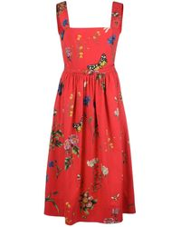 Oscar de la Renta Botanical Garden Midi Dress - Red