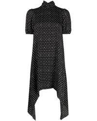 John Richmond ドット ドレープ ドレス - ブラック