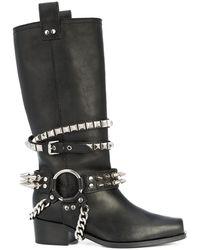 Moschino Studded Biker Boots - Black