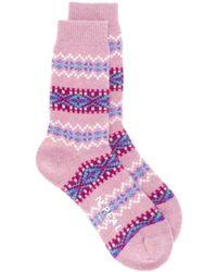 N.Peal Cashmere Fairisle 靴下 - ピンク