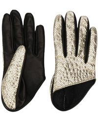 Manokhi Perforated Two-tone Gloves - Black