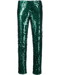 P.A.R.O.S.H. Sequin Embellished Trousers - Green