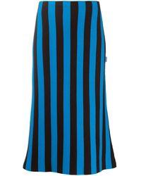Sunnei Jupe mi-longue rayée - Bleu