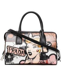 Prada | Black Cartoon Lady Leather Bowling Tote | Lyst