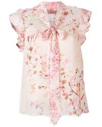 Twin Set Blusa con detalle de pañuelo en el cuello - Rosa