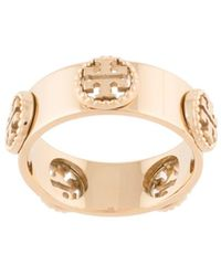 Tory Burch Milgrain Logo-plaque Ring - Metallic