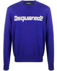 DSquared² Pull à logo en intarsia - Bleu