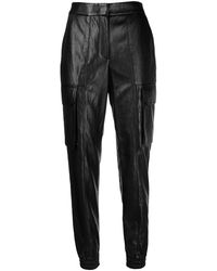 Juun.J Tapered Fit Faux-leather Trousers - Black