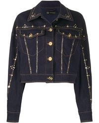 Versace Studded Cropped Denim Jacket - Blue