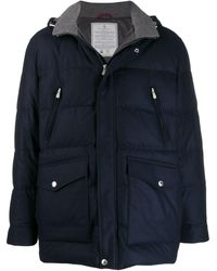 Brunello Cucinelli Hooded Padded Jacket - Blue