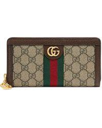 Gucci Ophidia GG Zip Around Wallet - Naturel