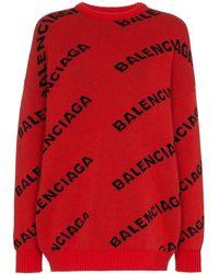 Balenciaga Jersey con motivo del logo - Rojo