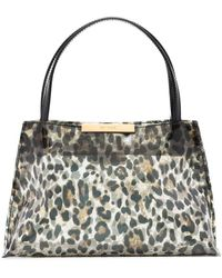 BY FAR Charlotte Leopard Print Tote - Black
