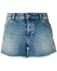 Emporio Armani - Cut Off Denim Shorts - Lyst
