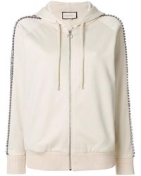 Gucci - Crystal Embroidered Zipped Sweatshirt - Lyst