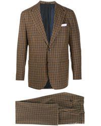 Kiton チェック スーツ - ブラウン