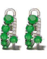 Brumani 18kt White Gold Manaca Diamond And Jade Earrings - Green