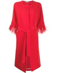 P.A.R.O.S.H. Feather-embellished Belted Coat - Red
