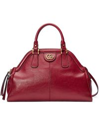 Gucci Linea Large Leather Top Handle Bag - Red