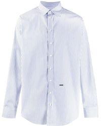 DSquared² Logo Plaque Striped Shirt - White