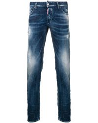 DSquared² Regular Distressed Trousers - Blauw
