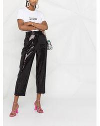 Karl Lagerfeld スパンコール クロップドパンツ - ブラック