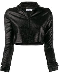 Paco Rabanne Cropped Glitter Zip-up Sweater - Black