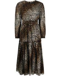 Samantha Sung Tiffany Cheetah Print Midi Dress - Black