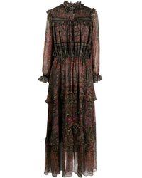 Etro Длинное Платье С Принтом - Красный