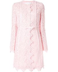 Giambattista Valli Кружевное Пальто Миди С Цветочным Узором - Розовый