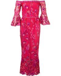 Marchesa notte Midi-jurk Met Bloemdessin - Rood