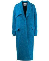 MSGM Однобортное Пальто Оверсайз - Синий