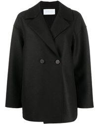 Harris Wharf London Double-breasted Wool Peacoat - Black