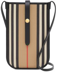 Burberry Icon Stripe Phone Pouch 18cmx12cm - Black