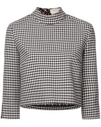 Nicole Miller Cropped Vichy Blouse - Black