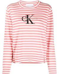 Calvin Klein ストライプ ロングtシャツ - ピンク