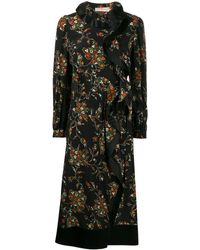 Tory Burch Sacred Floral Ruffle Panel Dress - Black