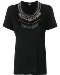 Just Cavalli - Embellished Neck T-shirt - Lyst