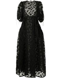 Cecilie Bahnsen パネル イブニングドレス - ブラック