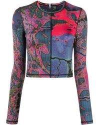 McQ Long-sleeved Floral Print Jersey Top - Black